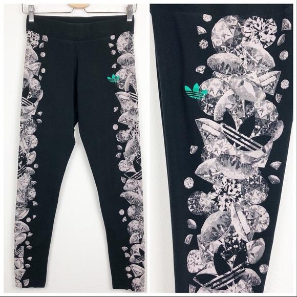 e572abb4232 adidas Pants   Trefoil Diamond Print Black Leggings Small   Poshmark